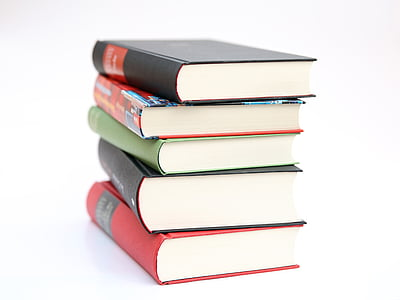 five pile of books in white background