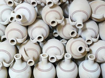beige clay jar lot
