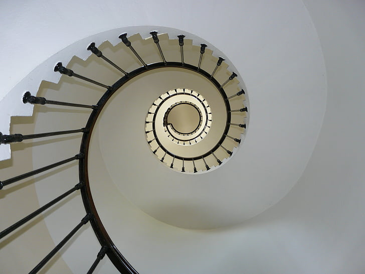 curved black stairs