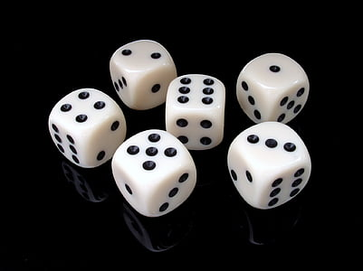 six white dice