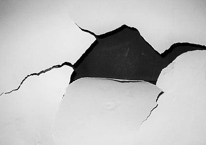 black surface white cracked paint