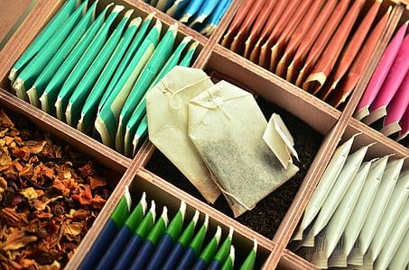 teabag on cubby shelf