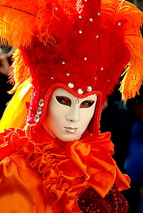 person wearing red feather mask and costume