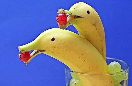 two ripe bananas on clear glass