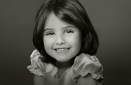 portrait of girl grayscale photo