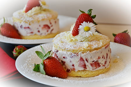 strawberry cakes on plates