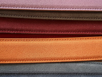 assorted-color suede belts