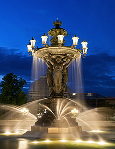 water fountain with lights on