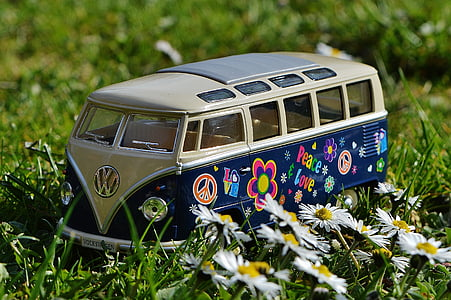 blue and white Volkswagen Transporter scale model near white petaled flowers
