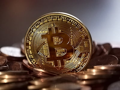 shallow focus photography of gold-colored bitcoin coin