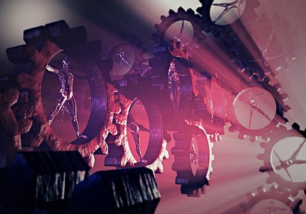 black gears with red lighting