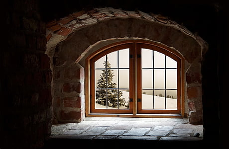 shallow photography of brown wooden glass-panel door with concrete bricked frame