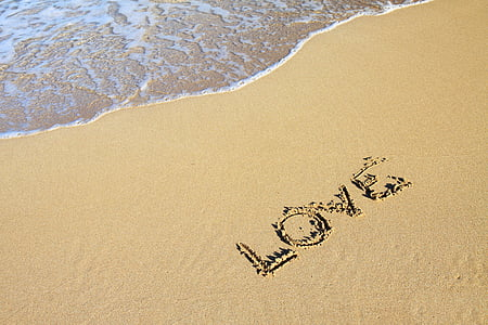 brown sand with love-printed