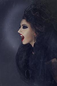 vampire woman wearing black top