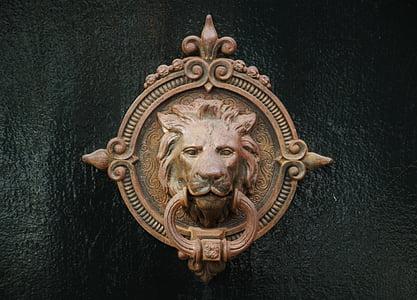copper-colored lionhead door-knob