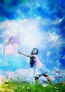 woman under open umbrella photo