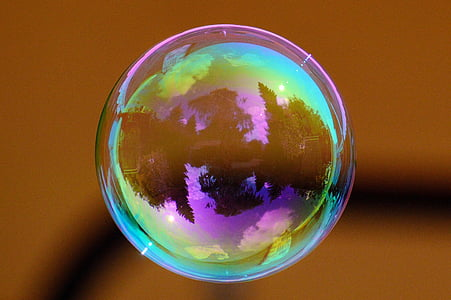 close-up photography of iridescent bubble