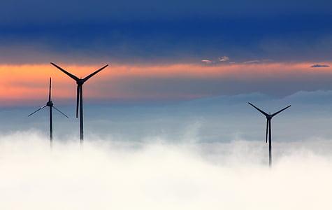 three black wind mills