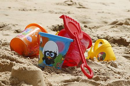 several-colored plastic pails
