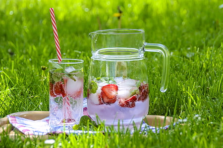 fruit juice in clear glass pitcher with drinking glass on green grass