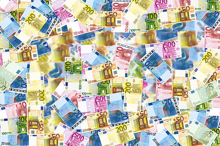 top view of Euro banknotes