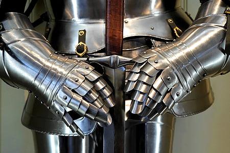 gray steel knight armor