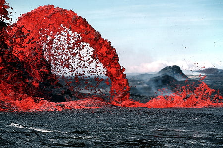 lava flowing during daytime