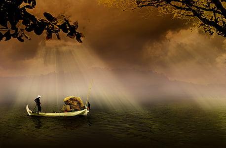 man sail on boat