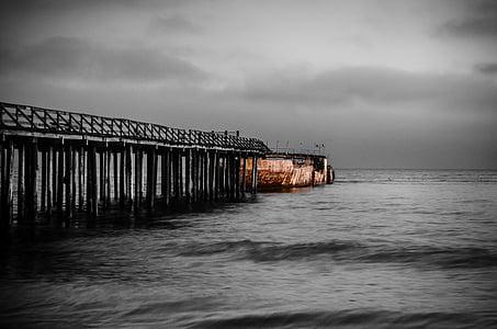 black wooden boardwalk grayscale photo