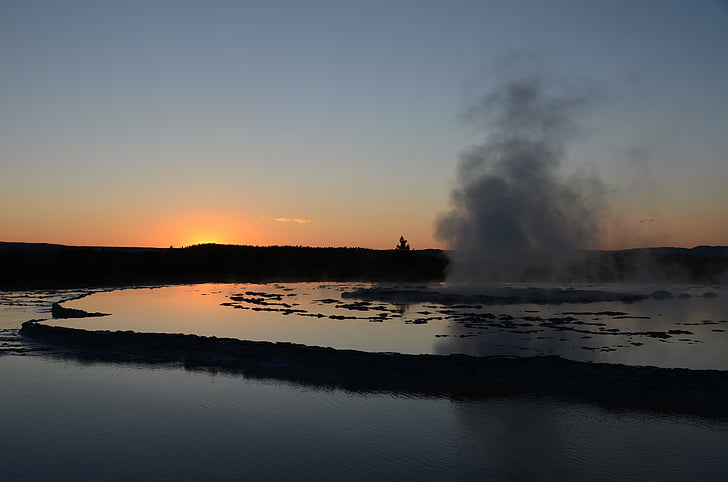body of water and smoke during sunset