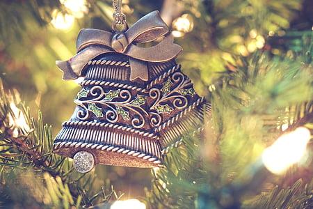 grey bell christmas tree ornament