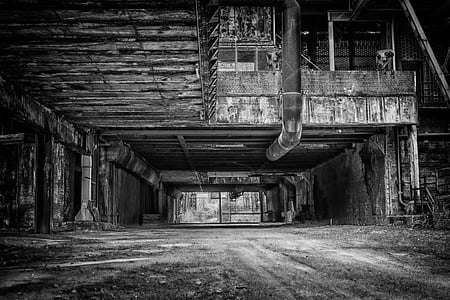 grayscale photo of factory