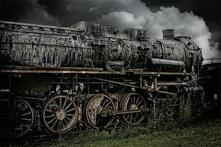 gray train selective photography