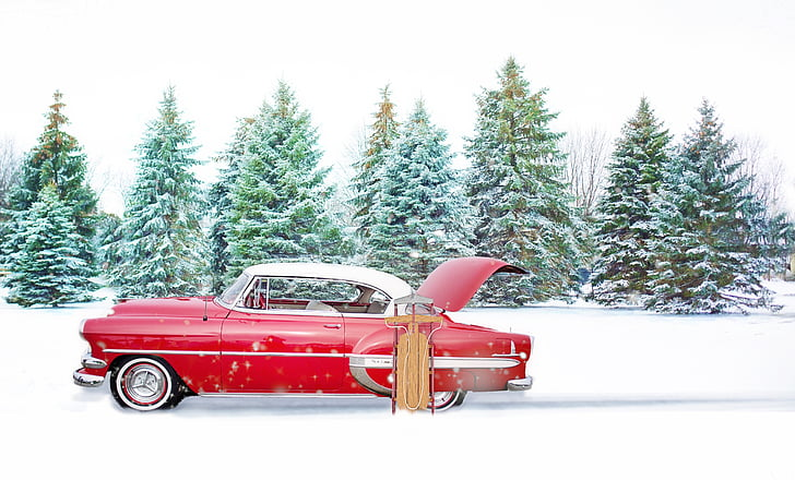classic red coupe near green pine trees during snow weather
