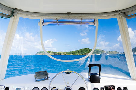 white speed boat interior