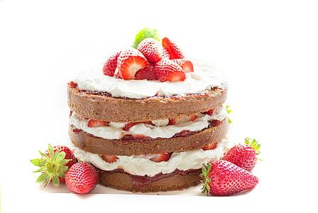 round strawberry and white whip cream topped cake