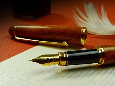 brown fountain pen