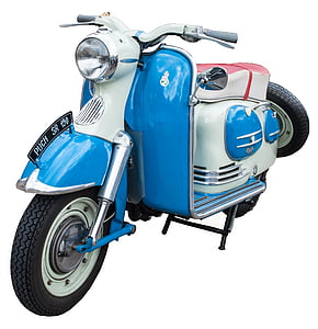 blue and white moped