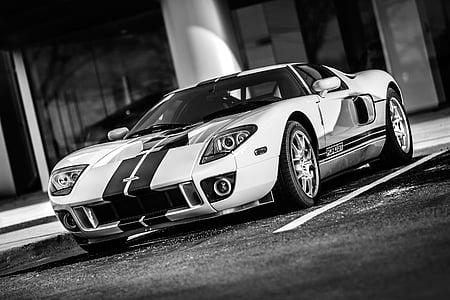 Grayscale photo of super car