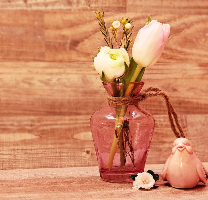 pink glass flower vase