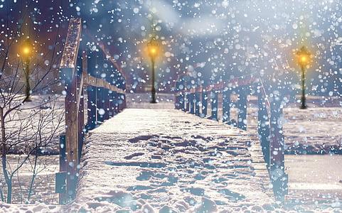 brown wooden bridge on snowy field