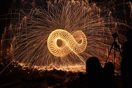 yellow infinity fire dance during nighttime
