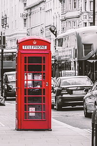 selective color of red Telephone booth