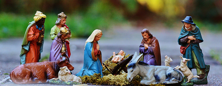 selective focus photography of The Nativity figurines