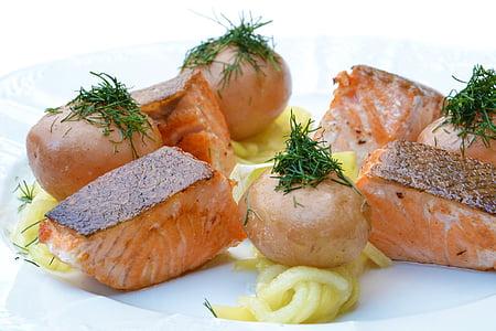 fried salmon dish
