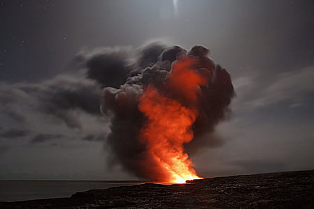 photo of volcano with smoke