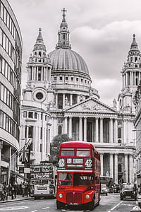 selective-color of red double decker bus