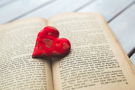 red heart frame on brown book page