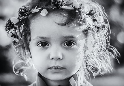 grayscale photo of a child