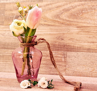 pink glass vase with pink tulips and white rose